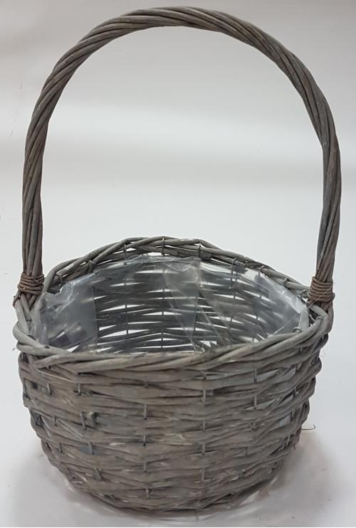 Корзина плетеная из ивовой лозы №3 лоза, полиэтилен серый