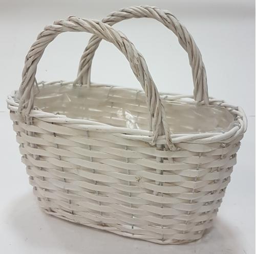 Корзина плетеная из ивовой лозы №1 лоза, полиэтилен белый