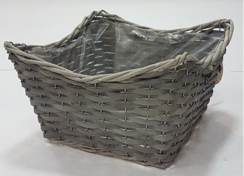 Корзина плетеная из ивовой лозы №2 ивовая лоза, полиэтиленовая вставка серый