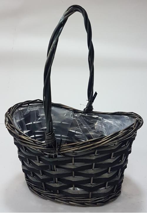 Корзина плетеная из ивовой лозы №2 ивовая лоза, полиэтиленовая вставка коричневый