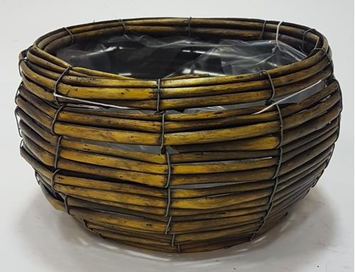 Корзина плетеная из ивовой лозы №1 ивовая лоза, полиэтиленовая вставка темно-коричневый