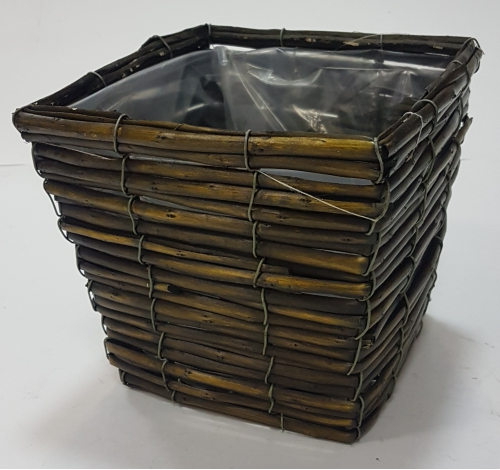 Корзина плетеная из ивовой лозы №1 лоза, полиэтилен темно-коричневый