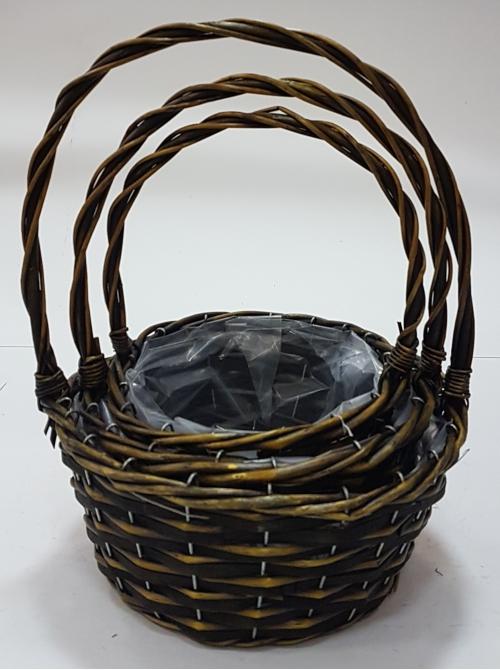 Набор корзин для флористики  лоза, полиэтилен темно-коричневый