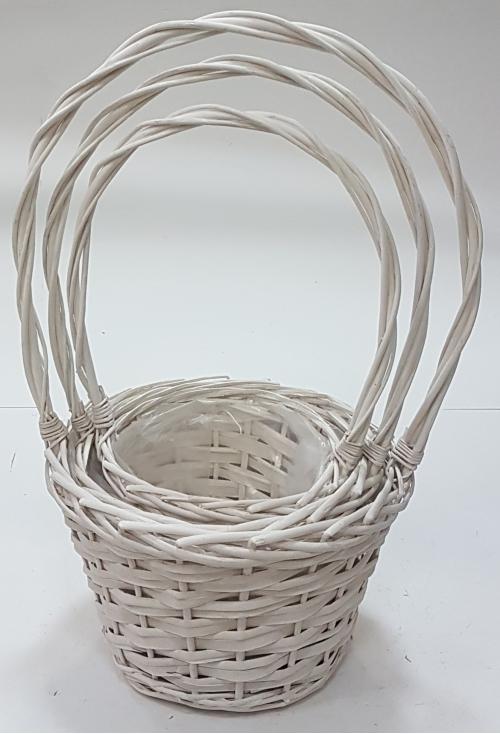 Набор корзин для флористики лоза, полиэтилен белый