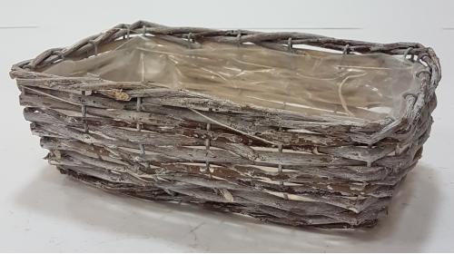 Корзина плетеная из ивовой лозы №2 лоза, полиэтилен серый