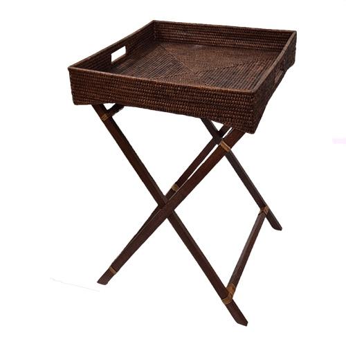 Сервировочный столик на деревянных ножках ротанг коричневый