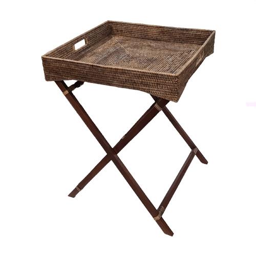 Сервировочный столик на деревянных ножках ротанг серый