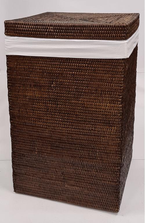 Корзина для белья с тканевым вложением ротанг коричневый