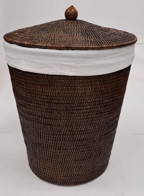 Корзина д/ белья с тканевым вложением №2 ротанг коричневый