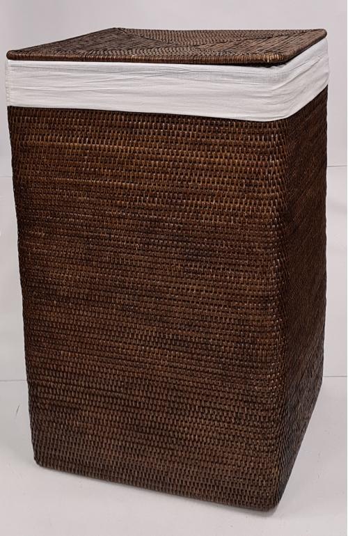 Корзина д/белья с тканевым вложением ротанг коричневый