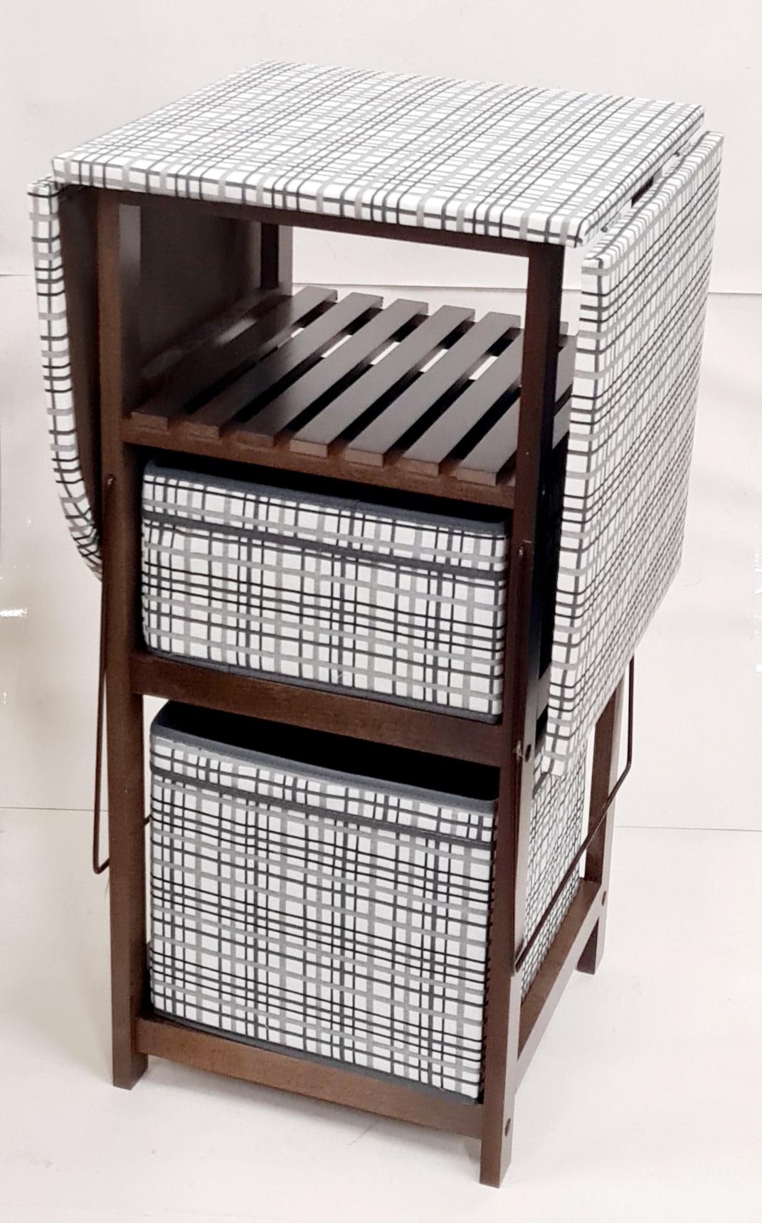 Комод с гладильной доской  темный орех дерево, ящики : ткань темный орех, серая клетка