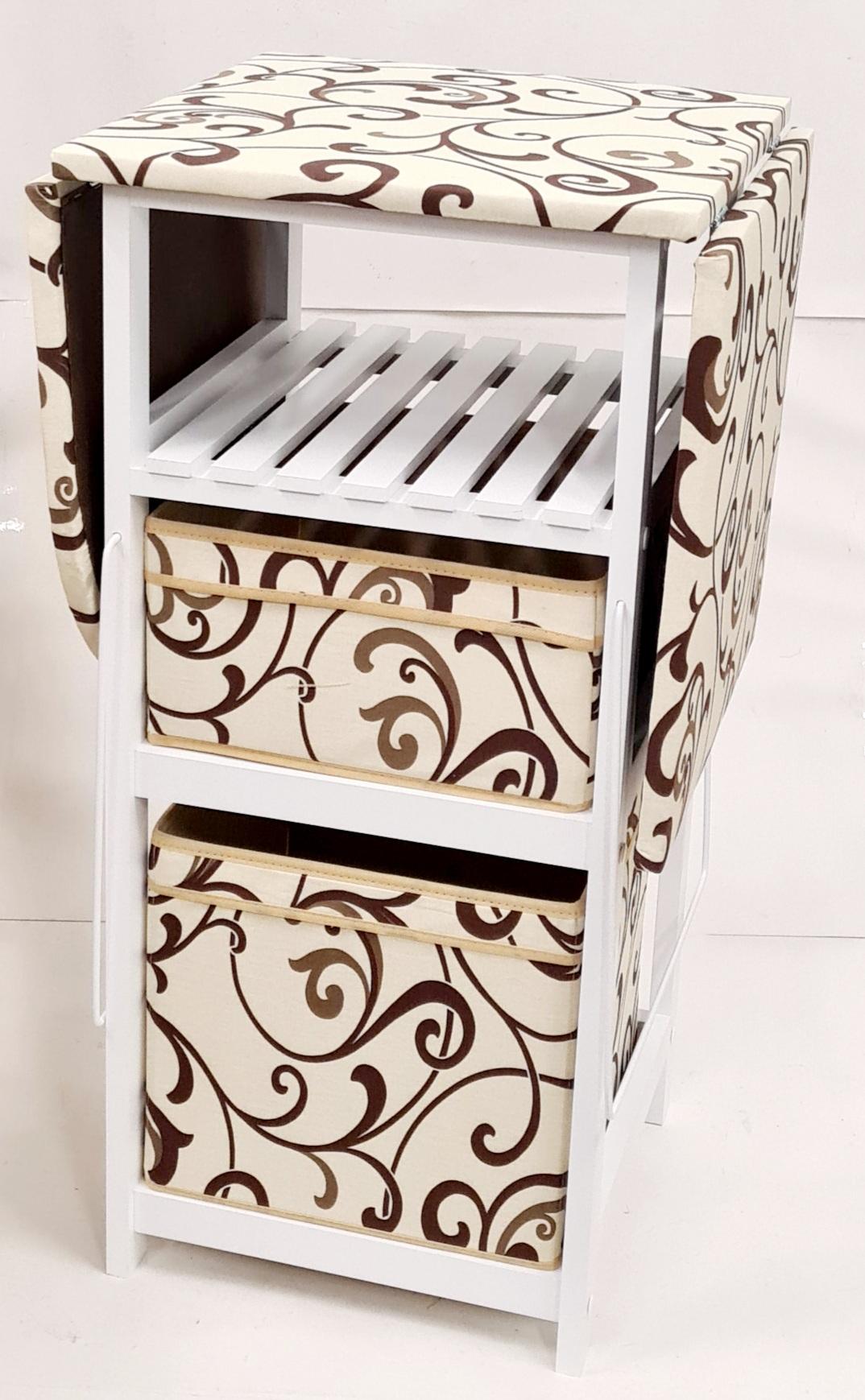 Комод с гладильной доской белый дерево, ящики : ткань белый, кремовая абстракция