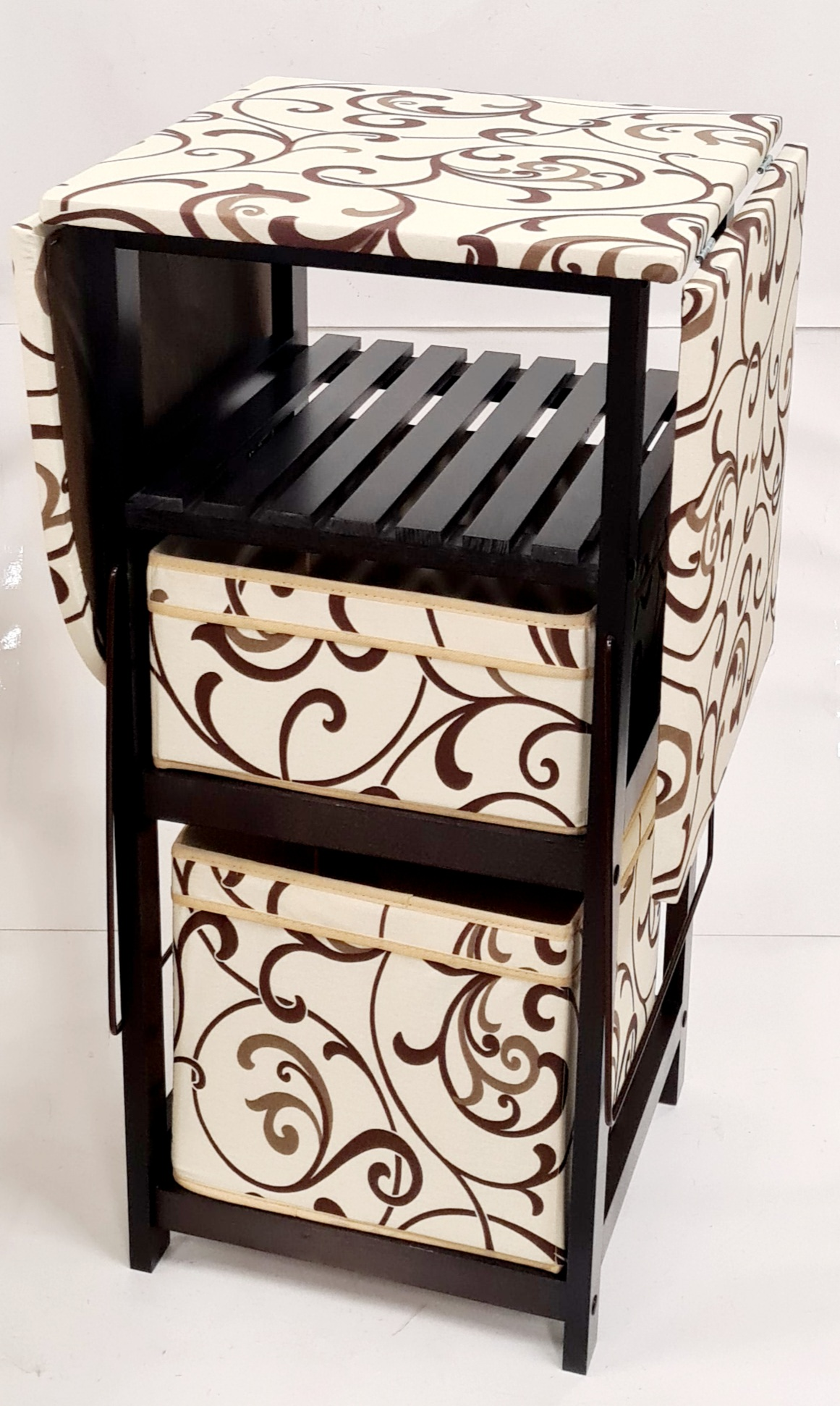 Комод с гладильной доской венге дерево, ящики : ткань венге, кремовая абстракция