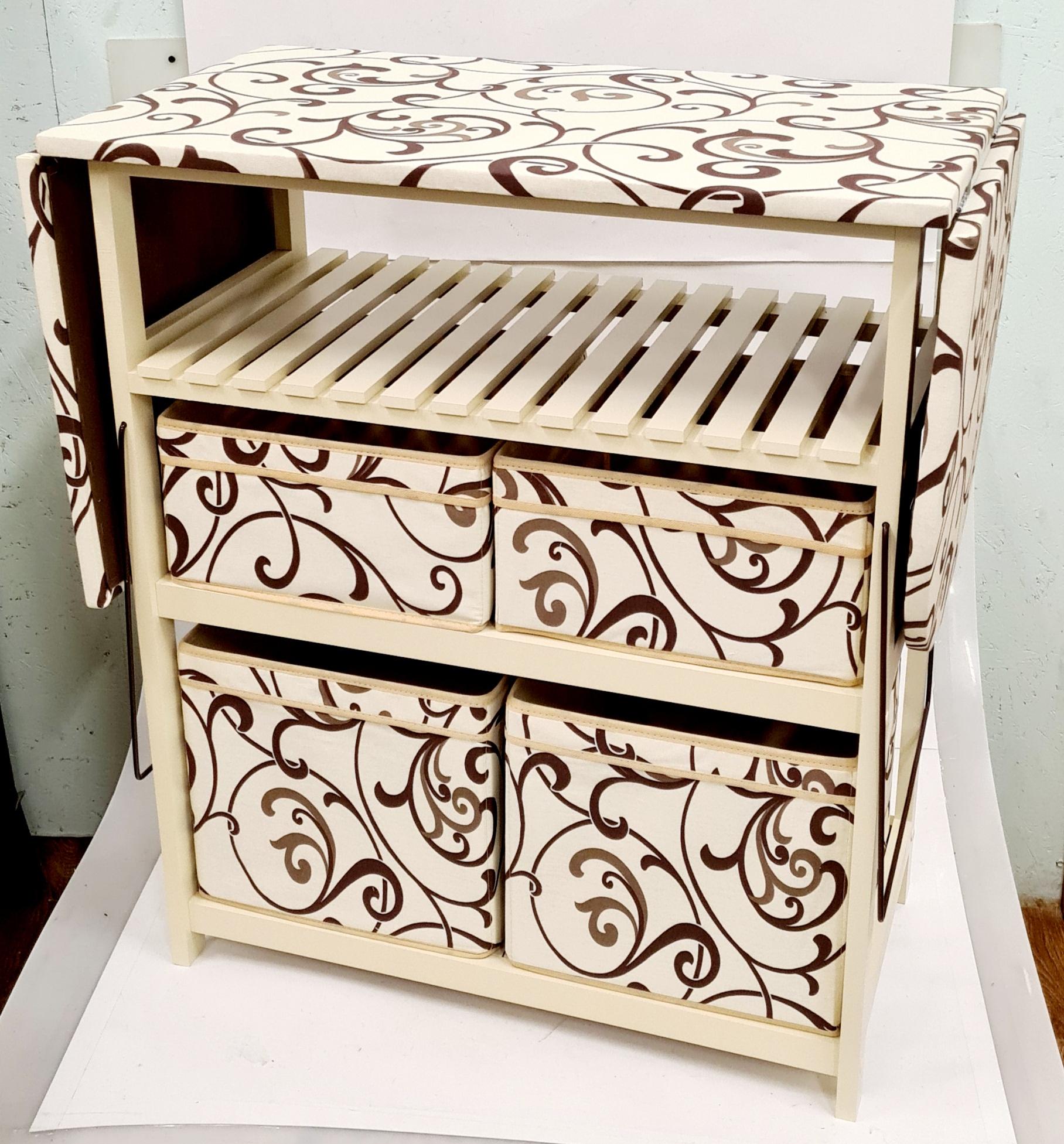 Комод с гладильной доской  слоновая кость дерево, ящики : ткань слоновая кость, кремовая абстракция