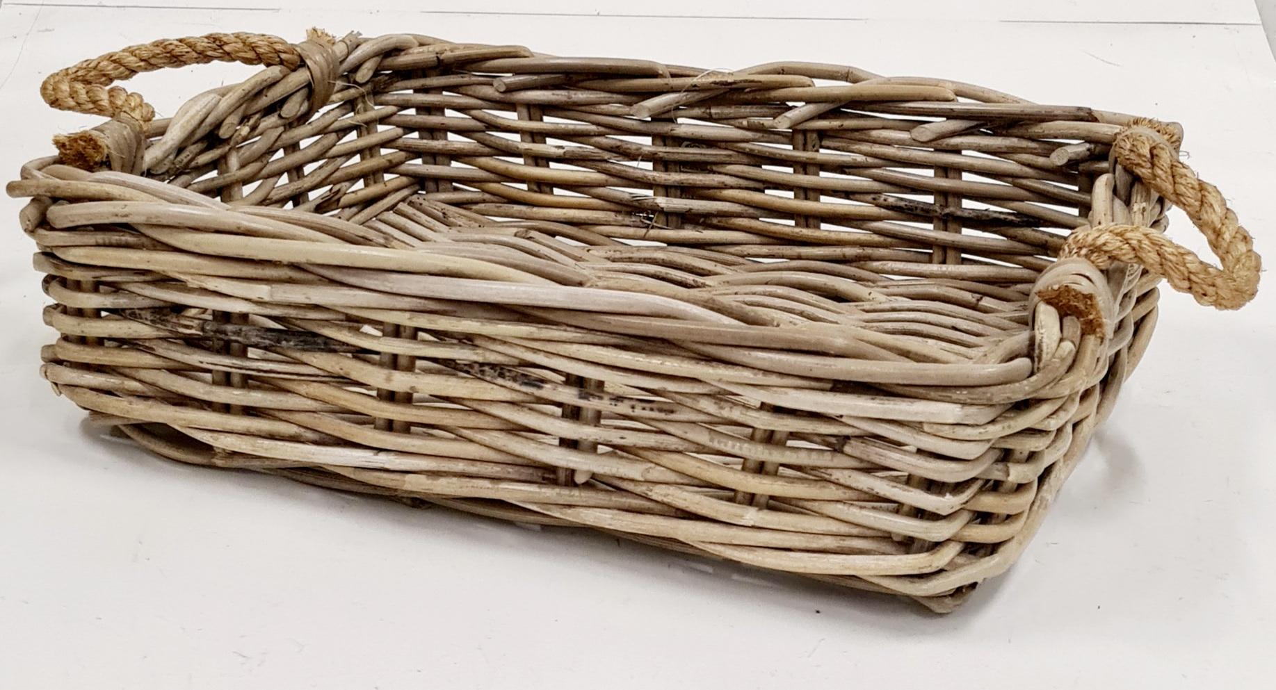 Лоток плетеный №1 ротанг серый, натуральный