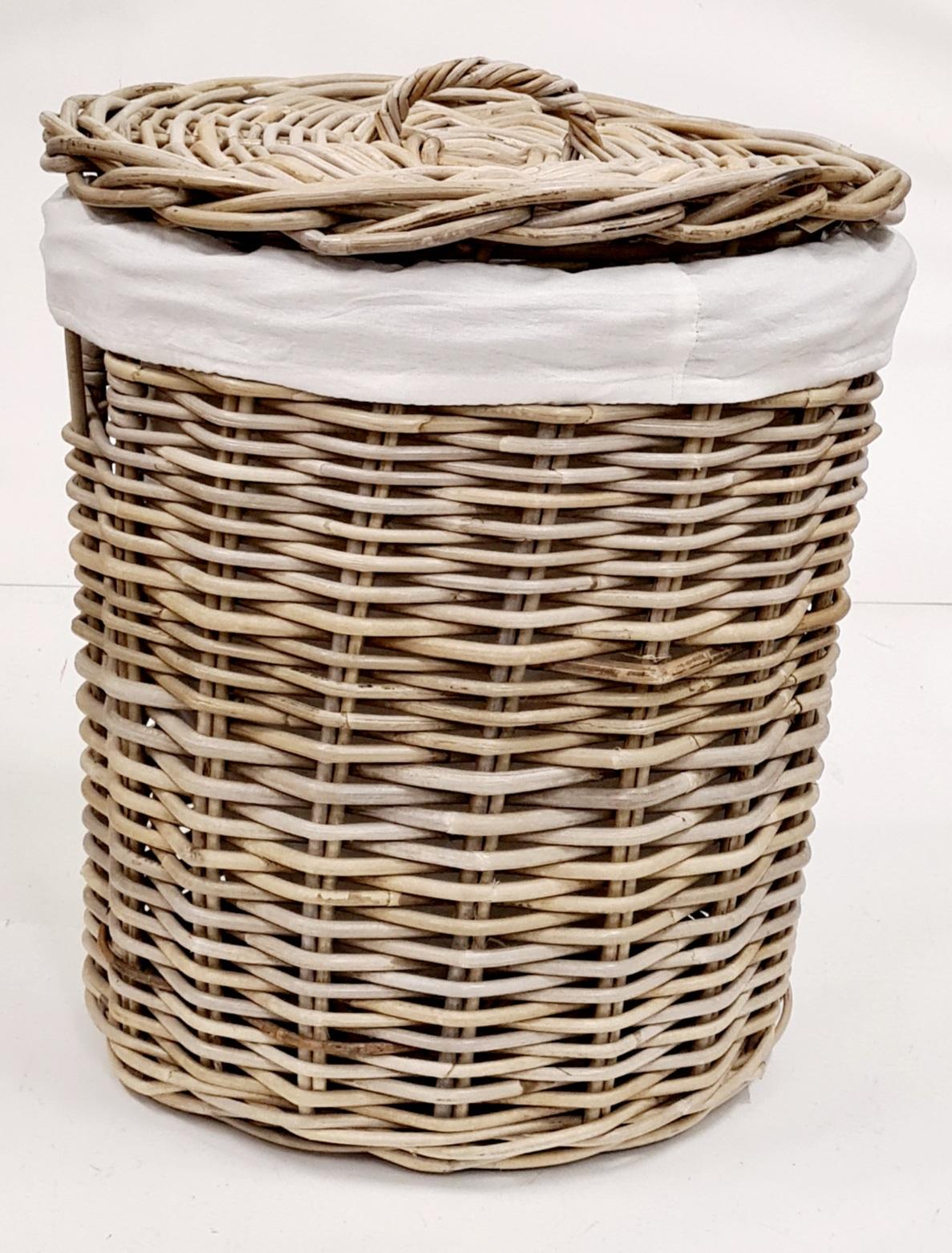 Корзина для белья №1 ротанг серый, натуральный