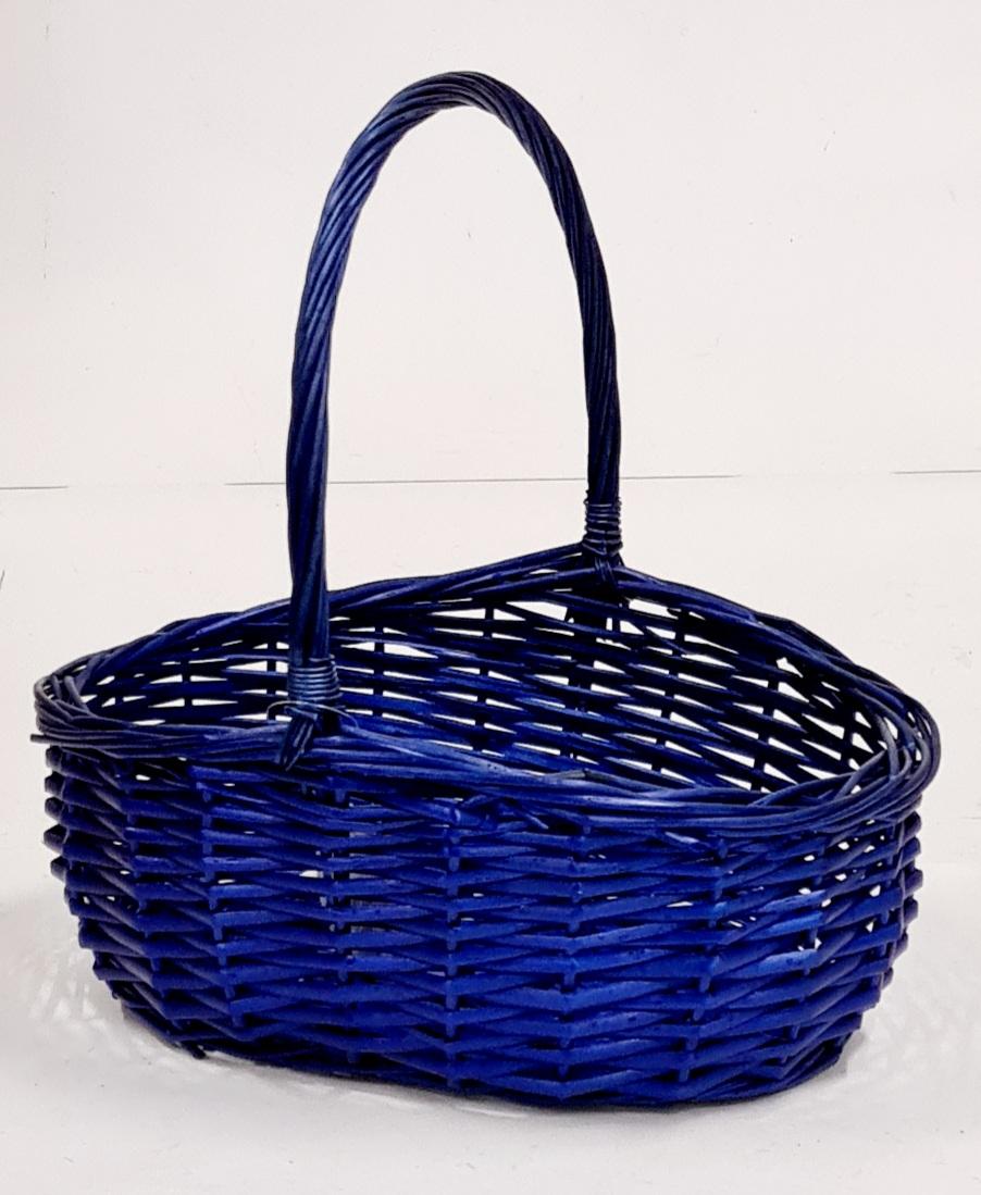Корзина плетеная из ивовой лозы №2 ивовая лоза, резанный прут тёмно-синий
