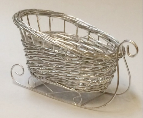 Санки плетеные серебряные №1 ивовая лоза серебро